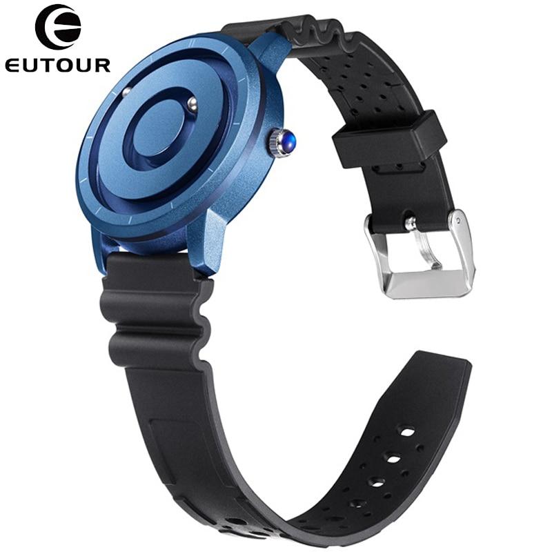 EUTOUR New Innovative Blue Gold Magnetic Metal Beads Multifunctional Watch Men's Casual Sports Quartz Watch Creative Men's Watch