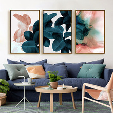 Colorful Leaves Wall Pictures for Living Room Home Decoration Nordic Plants Poster Wall Art Canvas Painting Posters and Prints modern inspirational nordic flowers plants combination canvas painting zebra poster and prints living room decorative painting