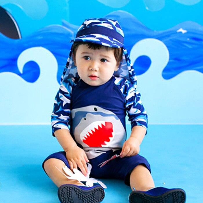 Shark Printed One-piece Boxer Swimwear BOY'S Suit Hot Springs KID'S Swimwear Small Children CHILDREN'S Korean-style Tour Bathing
