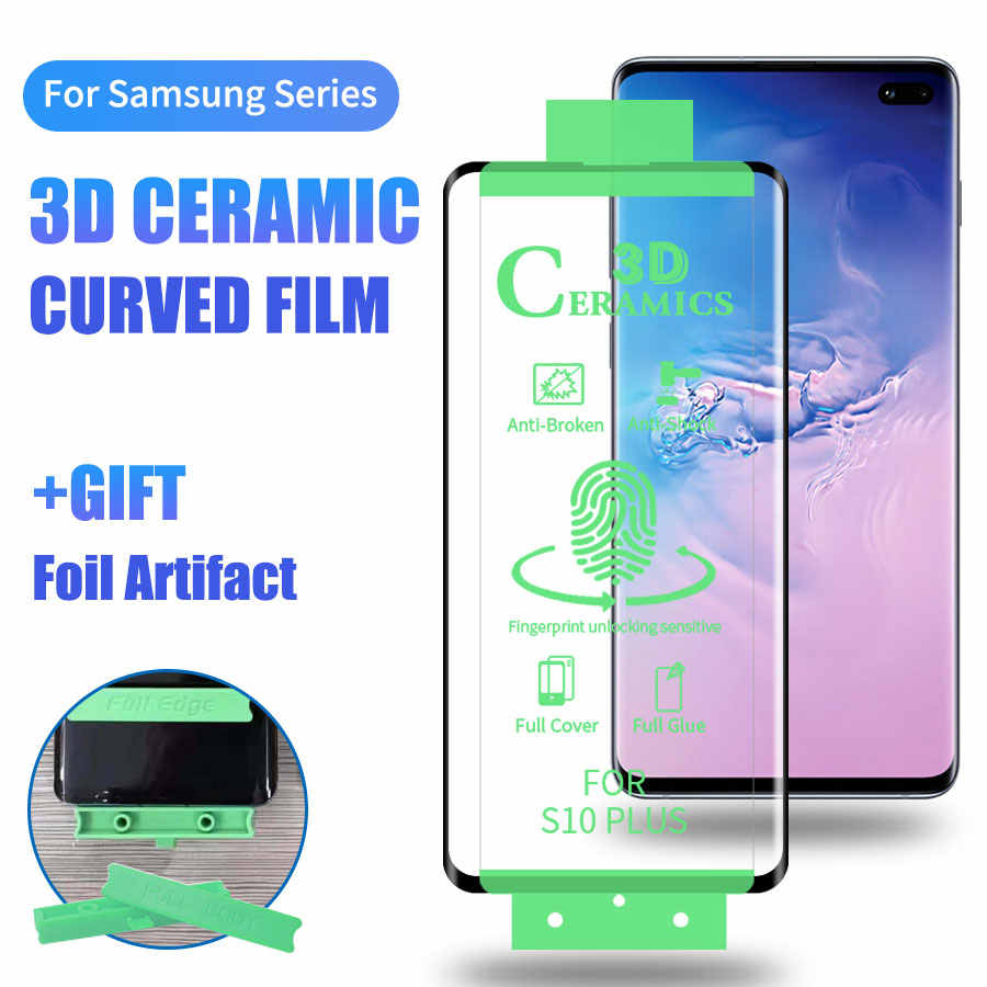 6D Full Cover Soft Curved Ceramic Screen Protector For Samsung Galaxy S10 S9 S8 Plus Note 10 8 9 Plus film (Not Tempered Glass)