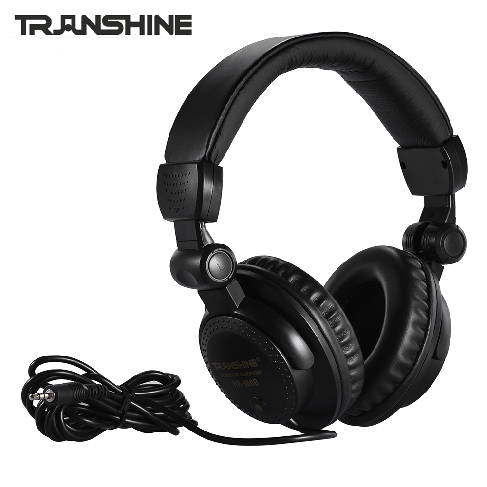 TRanshine HR-960B Wired Stereo Dynamic Monitor Headphone Headset For Guitar PC Computer CD Player Walkman MP3 MP4 Earphone