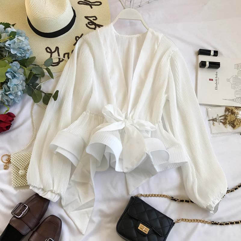 NiceMix Summer Autumn Women Blouse V neck Pleated Sleeve Sashes Chic Shirts Women Tops Elegant Streetwear Blusas Feminina in Blouses amp Shirts from Women 39 s Clothing
