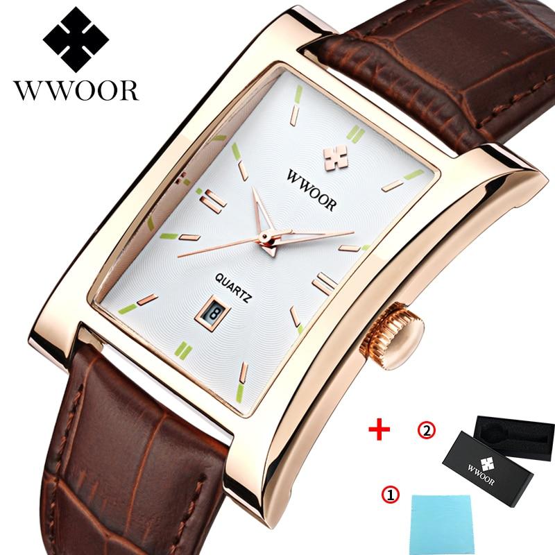 WWOOR Watch Men Top Brand Luxury Gold Black Square Watches For Men Leather Waterproof Date Clock Business Quartz Wrist Watch Box 8