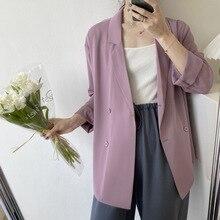 2020 Fashion Women Spring Blazer Pure Color Turn Down Collar Women Casual