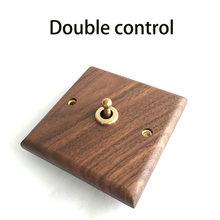 1pcs American black walnut panel brass lever antique solid wood retro switch socket 86 type switch