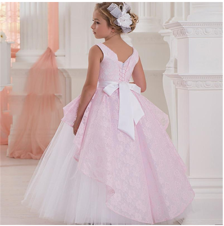 Pink Lace Flower Girls Dresses Sleeveless Ruffle First Communion Special Occasion Dress Baby Girl Birthday Gown