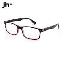 JM zawias sprężynowy Vintage Square okulary do czytania kobiety mężczyźni lupa Presbyopic dioptrii tanie tanio WOMEN Unisex Jasne CN (pochodzenie) LH028-1 32cm Z tworzywa sztucznego 52cm