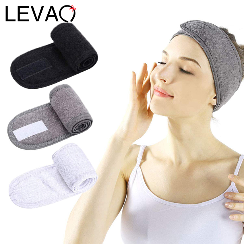 Levao Solid Color Sport Velcro Headband Adjustable Soft Velvet Headbands Hair Scarf Band Non-Slip Makeup Hairbands For Women