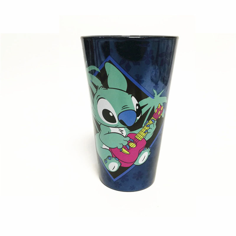 1 Piece 400ml Disney  Stitch Glass Cartoon Water Cup  Coffee Milk Mug Home Office Collection Cups Women Girl Gifts