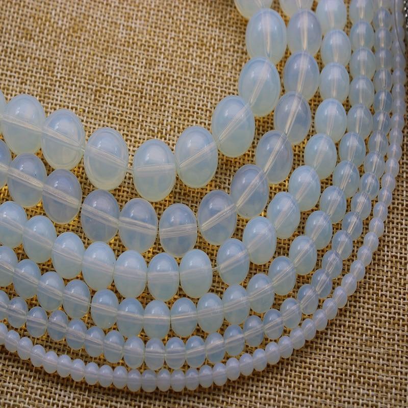 Un BONITO OPALITA//Piedra Lunar Collar de Abalorios de estilo y Clip en Pendiente Conjunto Nueva.