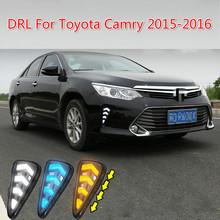 цена на 2PCS Car Accessories LED Daytime Running Light For Toyota Camry 2015 2016 DRL Cover Fog Lamp Car-Styling External Front Fog Lamp