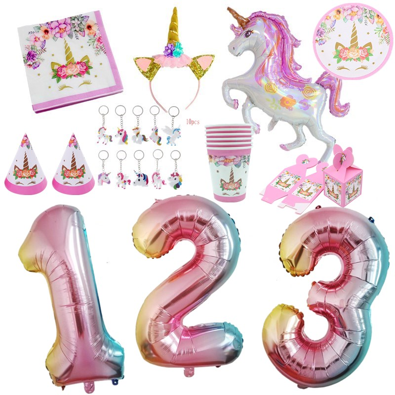 32inch Rainbow Number Balloon Foil Balloons <font><b>Unicorn</b></font> Birthday Party Silk Sash Girl Happy Birthday Party <font><b>Decoration</b></font> Headband Crown image