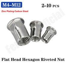 Nuts Riveted Rivnut Hex-Insert-Cap Hexagon M4 M10 M5 M6 M8 10pcs B155 Flat-Head Zinc-Plating