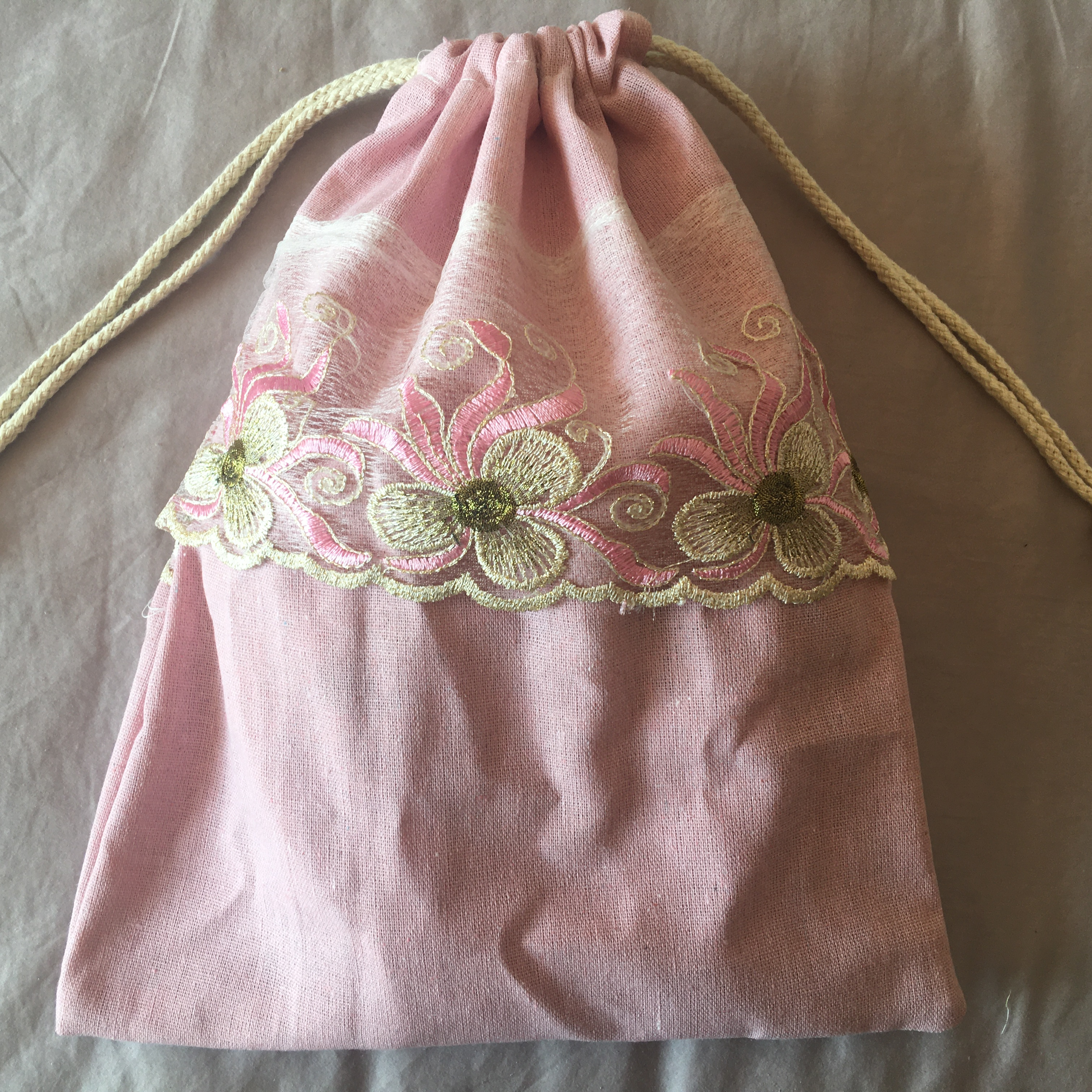 1pc Cotton Linen Drawstring Eco Organized Pouch Party Gift Bag Embroidered Trim Pink YL320F