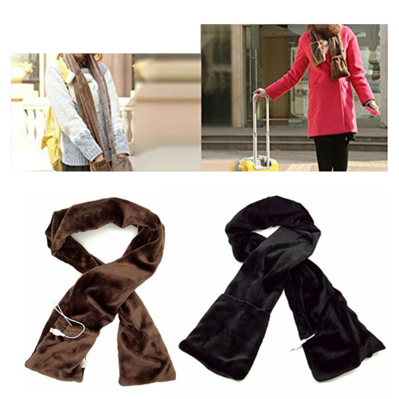 Women Men Winter Heated Long Scarf With Heating Pad Neck Warmer Electric USB Powered Soft Shawl Wraps With Pockets Portable