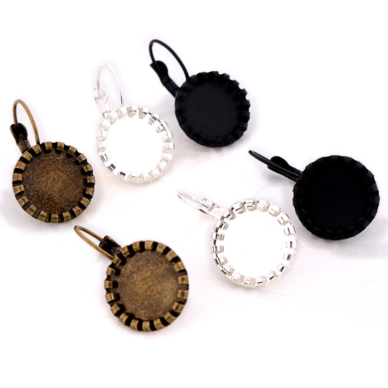 12mm 20mm 10pcs Black Bronze Bright Silver Plated Women Fashion Style French Lever Back Earrings Blank/Base