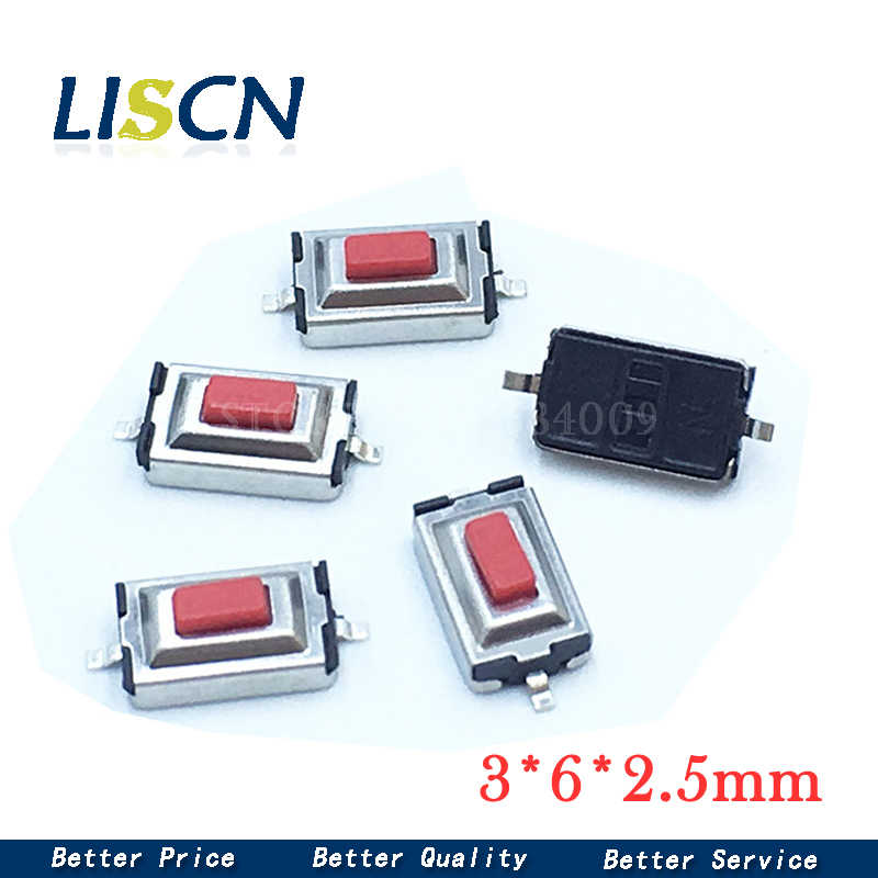 100pcs 3×6×2.5mm 3*6*2.5-2mm Tact Tactile Push Button Switch SMD-2Pin