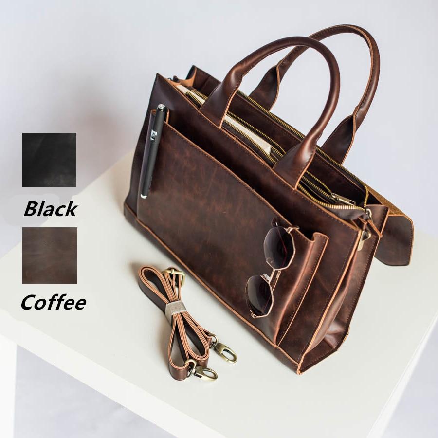 "Dress OL COOL Fashion Business Briefcase Literary Vintage Women Handbag Multifunction 13"" Laptop Unisex Shoulder Bag"