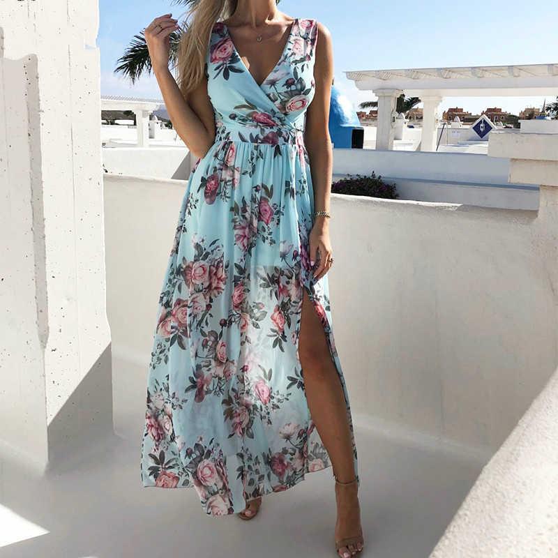 女性vネックスプリットドレス花柄ロング夏スパゲッティストラップパーティーピンクシフォンエレガントなカジュアルマキシドレスビーチ