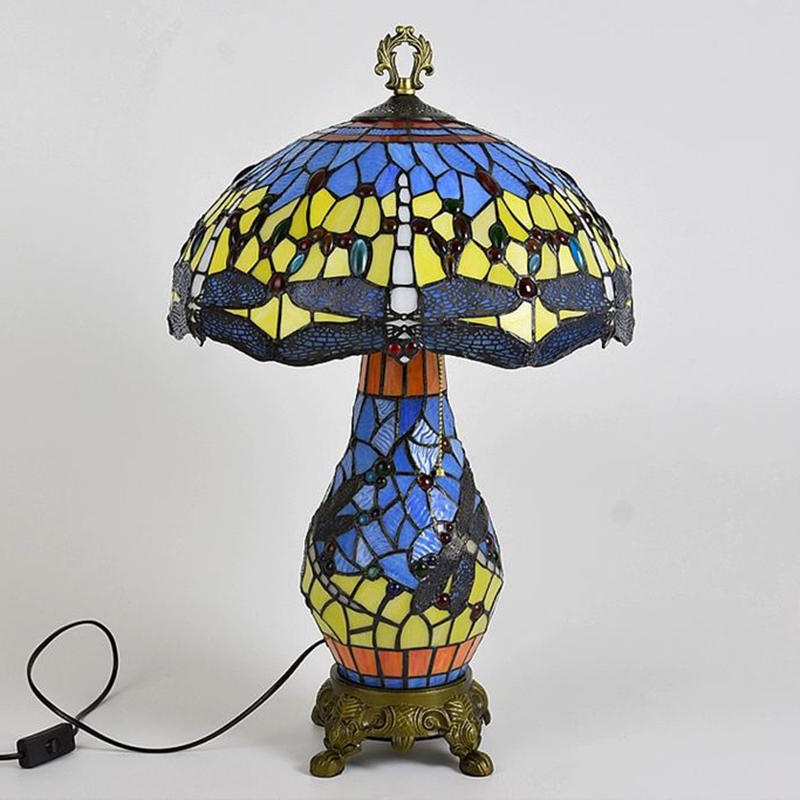 Dragonfly Tiffany Table Lamp Blue OFF