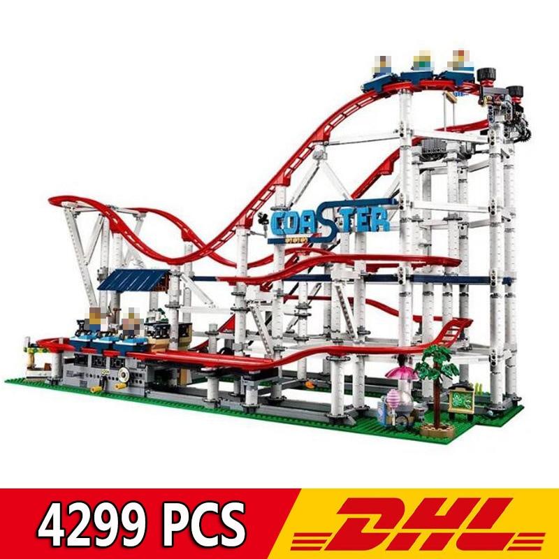 DHL 18003 4299Pcs Nostalgic Restaurant Roller Coaster City Street View MOC Series Building Blocks Compatible Legoings 10261 Toy