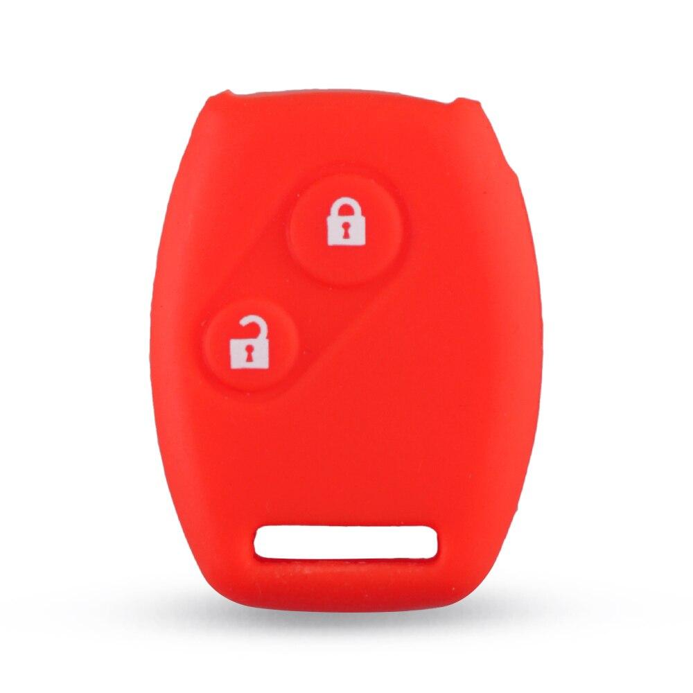 KEYYOU Стильный силиконовый чехол для ключей с 2 кнопками для Honda CR-V Civic Fit Freed StepWGN Key - Название цвета: Красный