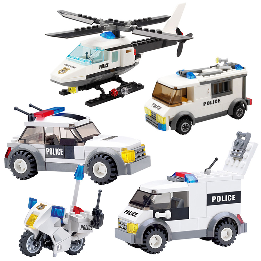 City Police Helicopter Airplane Blocks Building Blocks Legoing City Bricks Figures Educational Toys For Children Kids Gifts