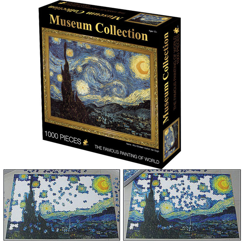 1000 Pieces Adult Puzzle Kids Jigsaw Famous Painting Wooden Puzzles Educational Toys For Children Animation Pairing Puzzles Gift
