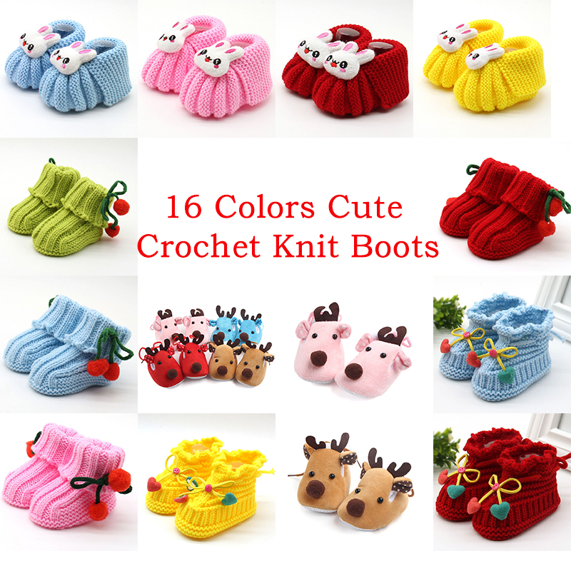 Newborn Baby Boy Girls Shoes Infants Cute Crochet Knit Boots Toddler Girl Boy Wool Snow Boot Crib Shoes Winter Warm Booties