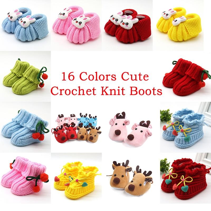 Newborn Baby Boy Girls Shoes Infants Cute Crochet Knit Boots Toddler Girl Boy Wool Snow Boot Crib Shoes Winter Warm Booties