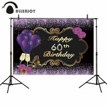 Allenjoy 60th Birthday Party Photocall Glitter Ribbon Balloon Beer Flower High Heels Black Background Cloth Adult Event Backdrop(China)