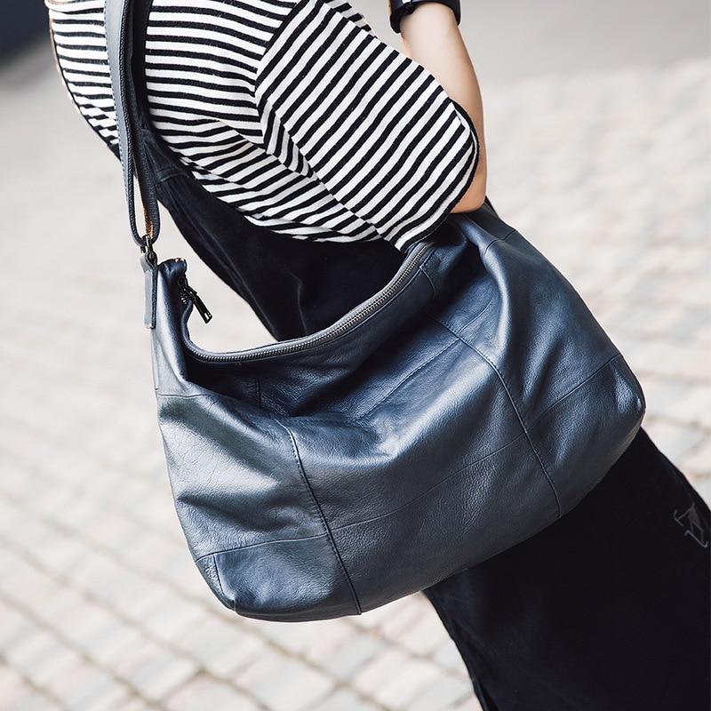 Luxury Brand Handbags For Women Genuine Cow Leather Shoulder Bag Vintage Female Crossbody Hobos Bag Ladies Tote