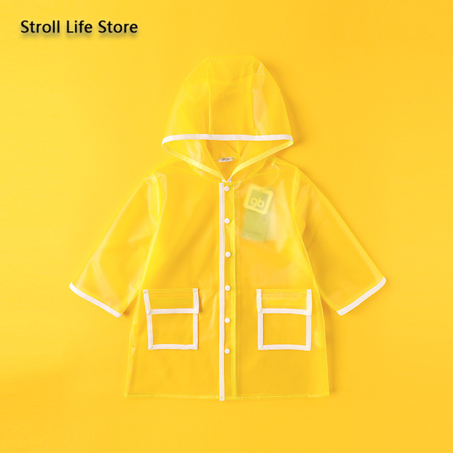 Kids Clear Raincoat Yellow Long Children Rain Coat Transparent Waterproof Poncho Rain Jacket Kids Capa De Chuva Birthday Gift 3