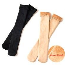 New Autumn/Winter Long Thickening Plus Velvet Warm Snow Thermal Socks Calf Knee Female Socks Warm Light Leg Ladies Elegant Socks цена 2017