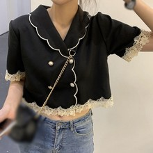 Women Blouses Summer Black Short Sleeves Crop Top Retro Elegant Double-breasted Doll Collar