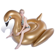 190cm Golden Swan Flamingo Inflatable Floating Row Summer Pool Beach Swimming Air Mattress Lounge Chair Water Toy For Kids Adult