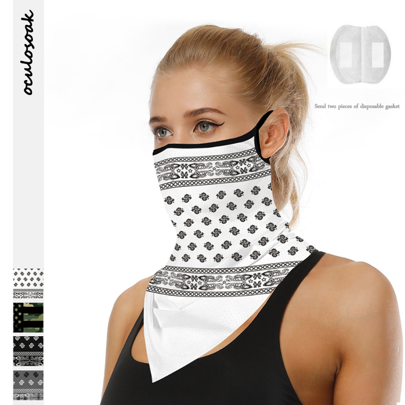 Hot Sale White Totem Digital Printing Summer Outdoor Sports Sunscreen Breathable Face Towel Hanging Ear Triangle Scarf New