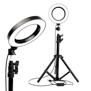 """Image 1 - LED Ring Light 6"""" with Tripod Stand for Tik Tok YouTube Video Makeup Live Streaming Mini Camera Lamp 20cm Photographic Lighting"""