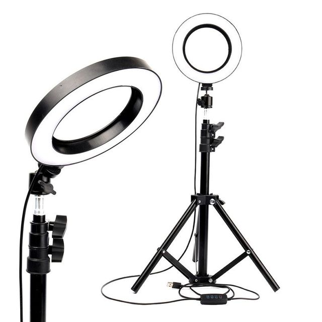"""LED Ring Light 6"""" with Tripod Stand for Tik Tok YouTube Video Makeup Live Streaming Mini Camera Lamp 20cm Photographic Lighting"""