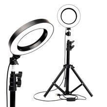 """Led anel de luz 6 """"com tripé suporte para tik tok youtube vídeo maquiagem streaming ao vivo mini câmera lâmpada 20cm iluminação fotográfica"""