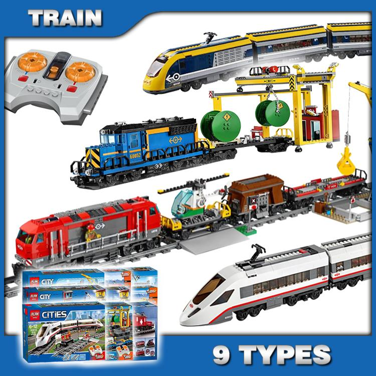9Types City Motorized Remote Control Cargo Train Hobby Model Building Block Toys Brick Power Functions Compatible With Lego