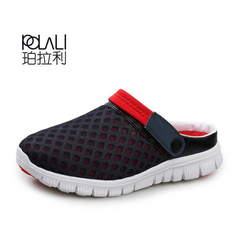 POLALI Mannen Aqua Schoenen Zomer Ademend Mannelijke Strand Sport Wandelen Sneakers Mesh Verlichte Unisex Schoenen Big Size 36-46