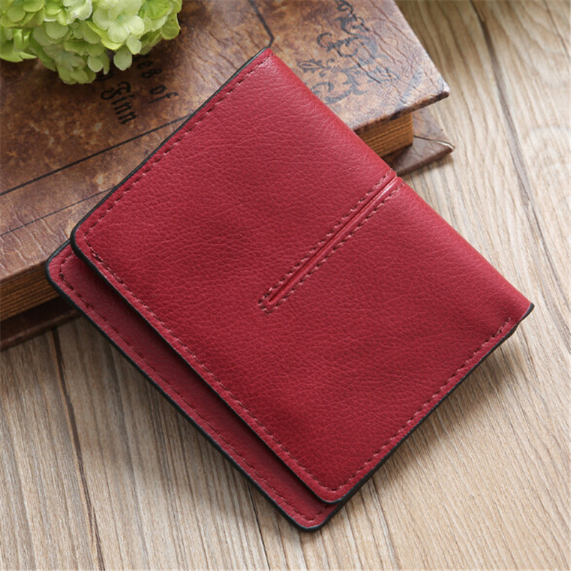 Women Casual Short Wallets Simple Lady Id Card Holder Coin Pocket Small Wallet Solid Purse Pu Leather  Female Lady Bag