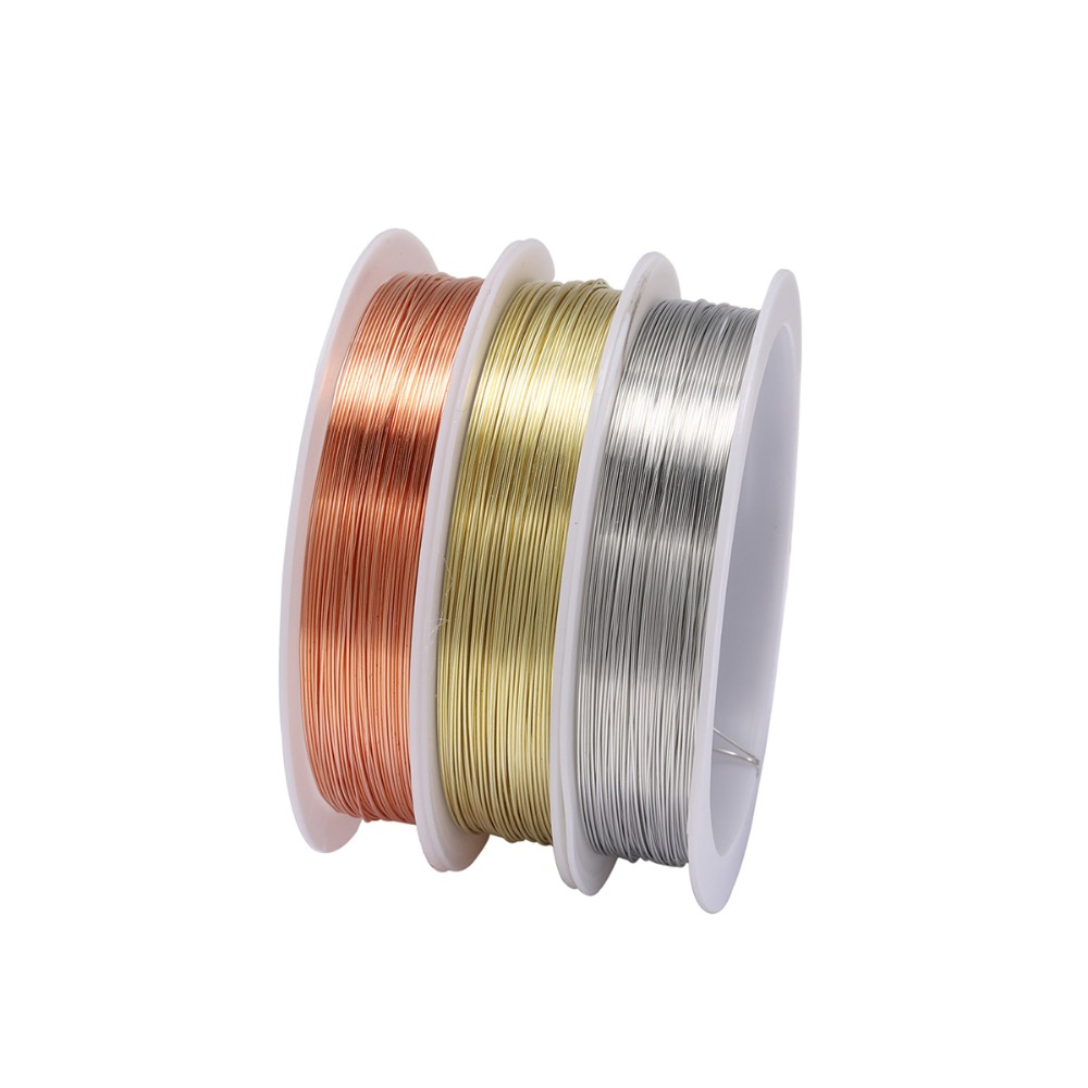 1 Roll Sturdy Gold Alloy Copper Wire Dia 0.2 0.3 0.4 0.5 0.6 0.7 0.8 1 Mm Thread Metal String Wire For DIY Beads Jewelry Making