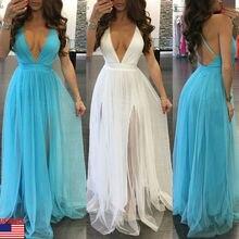 Verano Mujer vestido Vintage Boho suelto encaje largo Sexy Maxi vestido sin espalda noche fiesta boda vestidos formales