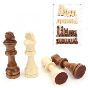 32pcs 55/77/91mm Wooden International Chess Piece Parent-Child Interaction Puzzle Toy Gift Children Chess Games Family Activity