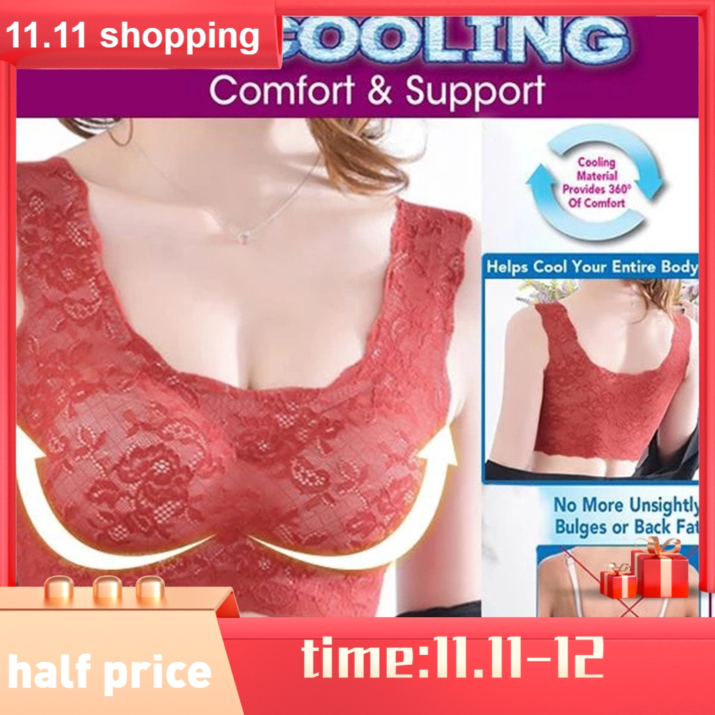 Women's Max Support Air Permeable Rose Floral Bra Large Wire-Free Sleep Lace Bra maximum comfort Women's Intimates