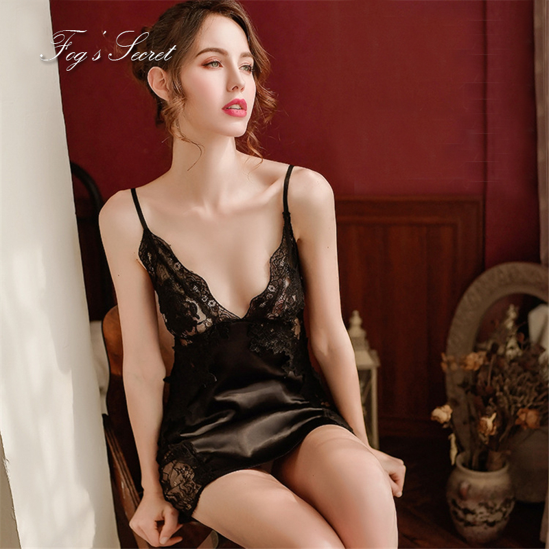 Female sleep dress   nightgowns     sleepshirts   sexy comfortable homewear black white lace camisolas sensuais