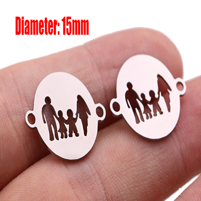 5pcs Family Chain Stainless Steel Pendant Necklace Parents and Children Necklaces Gold/steel Jewelry Gift for Mom Dad New Twice - Цвет: Steel 12