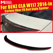 W117 Rear Trunk Spoiler Wing Tail AEFD Red Style Carbon Fiber For CLA-W117 CLA180 CLA200 CLA250 CLA45 Rear Trunk Spoiler 2014-in недорого